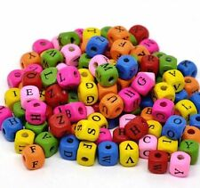 Free Ship 50/300Pcs Mixed Alphabet Letter Cube Wood Spacer Beads 10x9mm