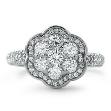 Sterling Silver CZ Cluster Flower Womens Cocktail Fashion Ring