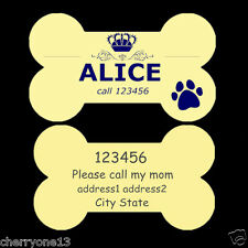 Dog ID Tag Name Pet Tags Custom Personalized Bone Double Sided - Engraved Free