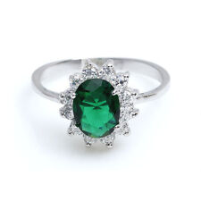 Oval Emerald Green 2.0 Ct AAA CZ Sterling Silver 925 Women Wedding Ring Size 6-8