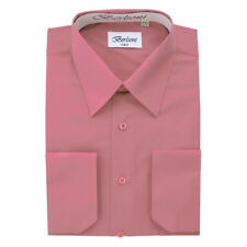 BERLIONI MEN'S CONVERTIBLE CUFF SOLID ITALIAN FRENCH DRESS SHIRT ROSE