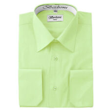 BERLIONI MEN'S CONVERTIBLE CUFF SOLID ITALIAN FRENCH DRESS SHIRT LIME