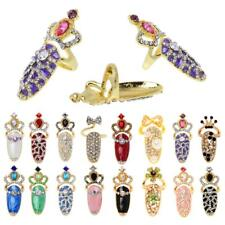 Fashion Lady Girl Unique Crystal 3D Rhinestone Crown Finger Tip Nail Ring