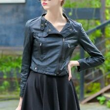 New Women PU Leather Jacket Fit Black Biker Motorcycle Short Coat Jacket Slim
