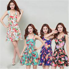 Vintage Women's Summer Sleeveless Dress Slim High Waist Vest Dress Floral Dress