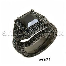 3CTW STERLING SILVER BLACK RHODIUM PLATED LADIES ENGAGEMENT AND WEDDING RING SET