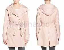Guess Hooded Jacket Double Breasted Trench Coat Pink NEW 2017 $199