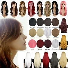 Vogue Costume Wig Full Head Curly Wave Straight Synthetic Hair Wigs Multicolors