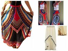 Women BOHO Vintage Floral High Waisted Long Maxi Skirt Holiday Beach Sundress