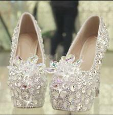 ladies diamond crystal high-heeled slip on blingbling wedding dress formal shoes