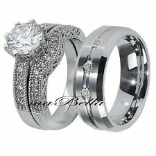His Tungsten Hers .925 Sterling Silver 3 Pcs CZ Hot Sale Wedding Ring Band Set