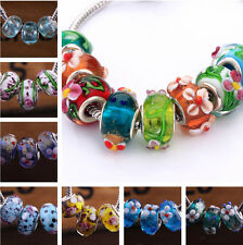 10/20pcs Flower Shape Lampwork Glass Murano Big Hole Beads Fit European Bracelet