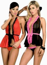 7018 Lady Sexy Black Red Baby Doll Teddy Lace LINGERIE Thong G-STRING S M L XL