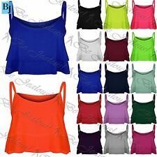 Womens Ladies Double Layered Ruffle Frill Flared Cami Swing Bralet Crop Top Vest