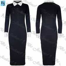 Womens Ladies Contrast Collared Ankle Length Stretchy Long Maxi Dress Plus Size