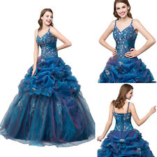 Cheap Blue Prom Bridesmaid Dresses Party Ball Gown Quinceanera Dress Stock 6-16