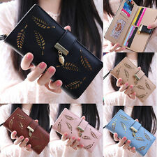 Fashion Lady Bifold Leaves Wallet Leather Clutch Card Holder Purse Long Handbag