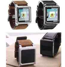 Leather  Wrist Strap Watch Band Aluminum Case for iPod Nano 6th Generation