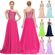 One shoulder Womens Chiffon Ball Gown Long Evening Prom Party Cocktail Dresses