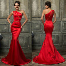 One Shoulder Red Satin Mermaid Evening Prom Bridesmaid Cocktail Party Maxi Dress
