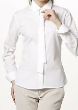 Women's Shirt Poplin Long Sleeve Tie Neck Formal White Wrinkle-free Collared