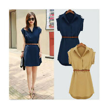 Vogue Women's Cap Sleeve Stretch Chiffon Casual OL Belt Shirt Fashion Mini Dress