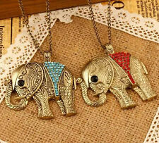 Pendant Retro 2016 Sweater Chain Colorful New Chic Necklace Elephant Crystal