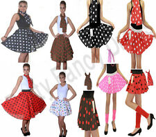 LADIES GIRLS ROCK AND ROLL SKIRT & SCARF POLKA DOT FANCY PARTY DRESS COSTUME