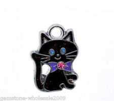 Wholesale Lots Silver Tone Enamel Cat Charm Pendants 19x14mm