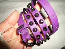 NEW WOMENS GUESS LEATHER EMBELLLISHED STUDDED SKINNY SPIKED PURPLE BELT S M