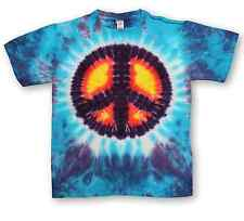 T022 - Tie Dyed Peace Symbol T-Shirt Psychedelic Hippy
