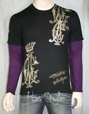 Christian Audigier SKULL stones CASHMERE layered sweater pullover super soft