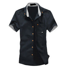 mens shirt summer short-sleeve slim shirt casual Small Mushroom Embroidery L3