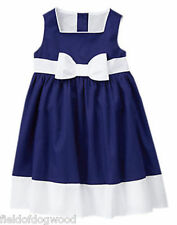 NWT Gymboree EGG HUNT Girls Size 12 18 24mo 2T 3T 4T 5T Navy Poplin Dress Easter