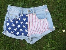 Topshop Moto American Stars & Stripes High Waisted Denim Jeans Shorts-6/8