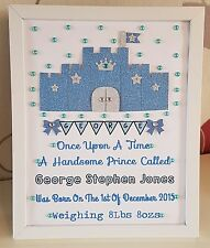 Personalised New Baby, Birth,Christening, 1st Birthday Boy Frame Gift Keepsake