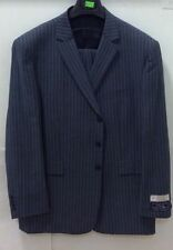 Men's 2 Pc 3 Button Single Breasted Suit Blue Stripes Poly wool Super 130's New