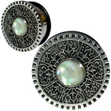 Pair of Vintage Style Nacre Inlay Stainless Steel Ear Plugs - O-Ring Ear Gauges