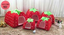 Cushion Dog Cat Warm Strawberry Soft Doggy Pet Kennel Puppy House Bed