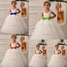 New Lace Wedding  Formal Flower Girls Dress  Pageant  fluffy dress custom belt