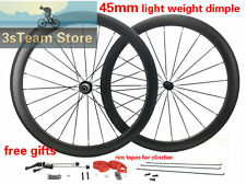 Free Gifts Carbon Biycle Dimple Wheel Set 45mm Deep Clincher/Tubular Wheels