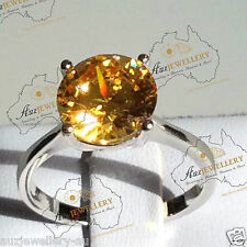 10mm Solitaire Created Yellow Diamond Engagement Ring Real 925 Sterling Silver