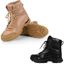 Mens Tactical Military Ankle Boots Leather Hiking Combat SWAT Lace Up Work Shoes