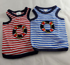 Lifebuoy small dog tank top, striped unisex vest style shirt 100% cotton pet tee