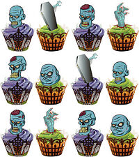 Halloween Cartoon Zombie Mix - Fun Fully Edible Cup Cake Toppers Decorations