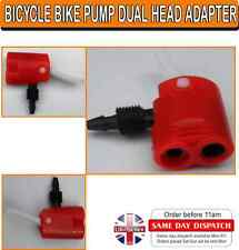 Bicycle Track Pump Adapter Dual Head Valve For Presta Schrader Red
