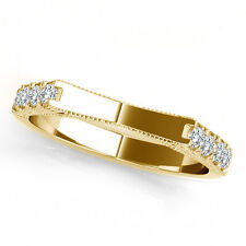 0.35 Carat G-H Diamond Half Circle Design Wedding Bridal Band 14K Yellow Gold