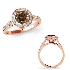 1.25 Ct Champagne Diamond Fancy Halo Channel Anniversary Ring Band 14K Rose Gold