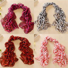 Women Scarves zebra-stripe Long Soft Neck Chiffon  Scarf Shawl Stole Wraps new X
