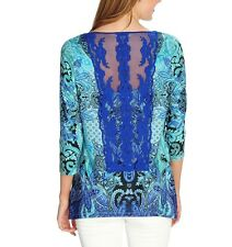 New One World Printed Knit 3/4 Sleeve Lace Detailed Sharkbite Top , S, M, L,